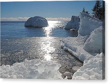 Ice Cold Day On Lake Superior Canvas Print by Sandra Updyke
