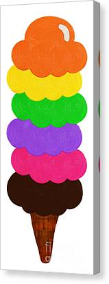 Ice Cream Shop 6 Scoops - Panorama Canvas Print by Andee Design
