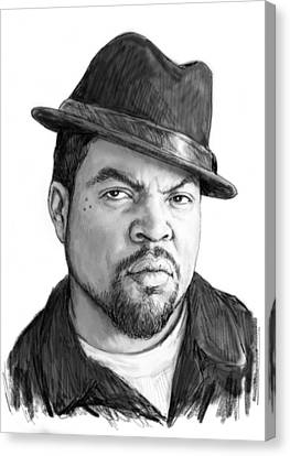Ice Cube Art Drawing Sketch Portrait Canvas Print by Kim Wang