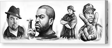 Ice Cube Blackwhite Group Art Drawing Sketch Poster Canvas Print by Kim Wang