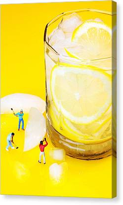 Ice Making For Lemonade Little People On Food Canvas Print by Paul Ge