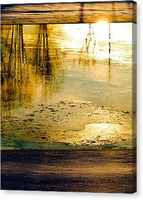 Ice On The River Canvas Print by Bob Orsillo