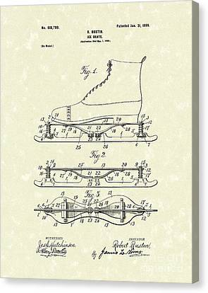 Ice Skate 1899 Patent Art Canvas Print by Prior Art Design