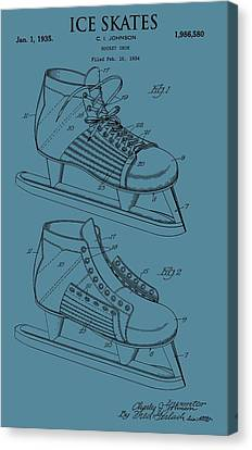 Ice Skates Patent On Blue Canvas Print by Dan Sproul