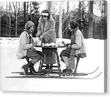 Ice Skating Tea Time Canvas Print by Underwood Archives