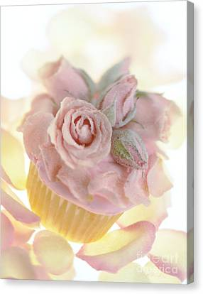 Iced Cup Cake With Sugared Pink Roses Canvas Print by Iris Richardson