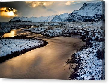 Iceland Winter Glow Canvas Print by Mike Berenson