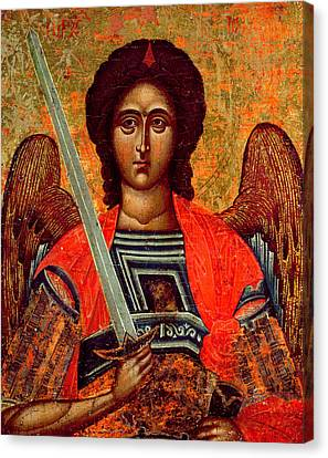 Male Angel Canvas Print featuring the painting Icon Of The Angel Michael by Greek School