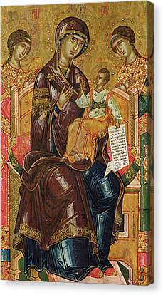 Icon Of The Virgin And Child With Archangels And Prophets Canvas Print by Longin