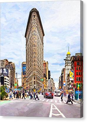 Iconic New York City Flatiron Building Canvas Print by Mark E Tisdale