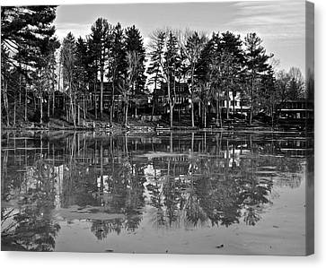 Icy Pond Reflects Canvas Print by Frozen in Time Fine Art Photography