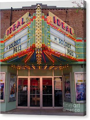 Ideal Theater In Clare Michigan Canvas Print by Terri Gostola