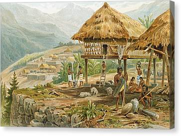 Igorrote Farm In Luzon, Philippines, From The History Of Mankind, Vol.1, By Prof. Friedrich Ratzel Canvas Print by Hans Meyer