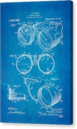Ihrcke Welding Goggles Patent Art 1917 Blueprint Canvas Print by Ian Monk
