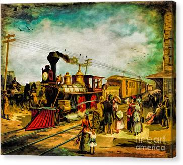 Illinois Central Railroad 1882 Canvas Print by Lianne Schneider