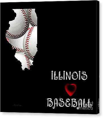 Illinois Loves Baseball Canvas Print by Andee Design