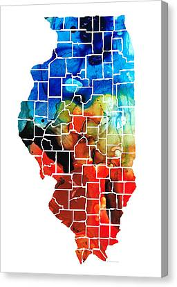 Illinois - Map Counties By Sharon Cummings Canvas Print by Sharon Cummings