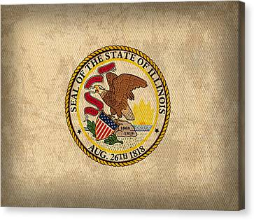 Illinois State Flag Art On Worn Canvas Canvas Print by Design Turnpike
