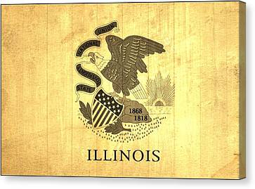 Illinois State Flag Barn Wall Canvas Print by Dan Sproul