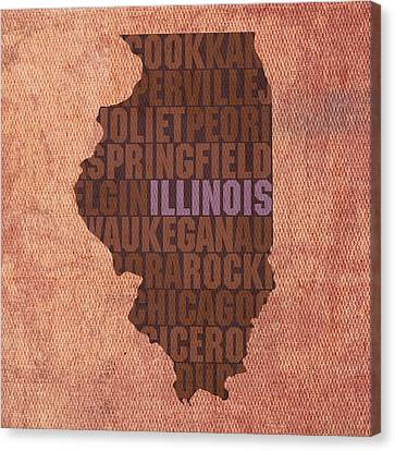Illinois State Word Art On Canvas Canvas Print by Design Turnpike