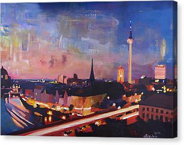 Illuminated Berlin Skyline At Dusk  Canvas Print by M Bleichner