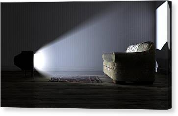 Illuminated Television And Lonely Old Couch Canvas Print by Allan Swart