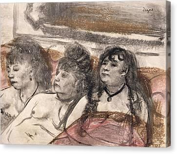 Illustration From La Maison Tellier Canvas Print by Edgar Degas