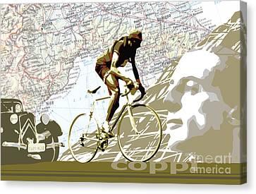 Illustration Print Giro De Italia Coppi Vintage Map Cycling Canvas Print by Sassan Filsoof