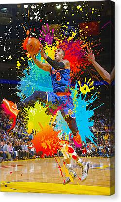 Iman Shumpert Of The New York Knicks Shoots Canvas Print by Don Kuing