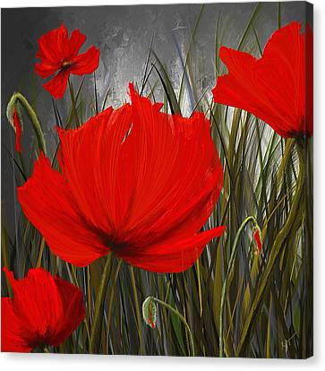 Immortal Blooms - Red And Gray Art Canvas Print by Lourry Legarde