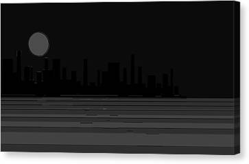Impression New York And The Magic Moon Two Canvas Print by Sir Josef Social Critic - ART