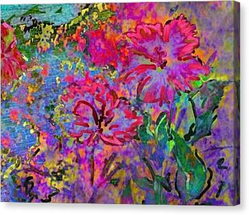 Impressionistic Magenta Hibiscus - Horizontal Canvas Print by Lyn Voytershark