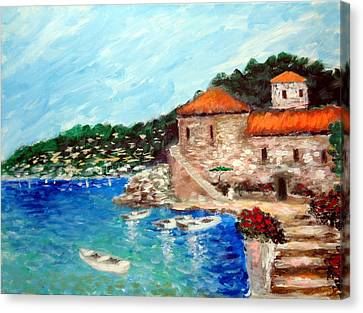 Impressions Of The Mediterranean Canvas Print by Larry Cirigliano