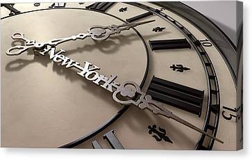 In A New York Minute Clock Canvas Print by Allan Swart