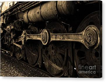 In A Time When Steam Was King 5d25491 V2 Sepia 1 Canvas Print by Wingsdomain Art and Photography