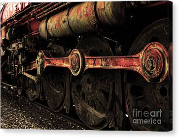 In A Time When Steam Was King 5d25491 V2 Sepia 2 Canvas Print by Wingsdomain Art and Photography