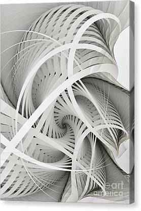 In Betweens-white Fractal Spiral Canvas Print by Karin Kuhlmann