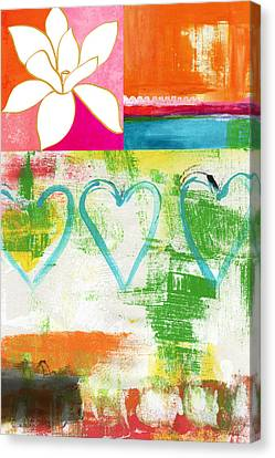 In Bloom- Colorful Heart And Flower Art Canvas Print by Linda Woods