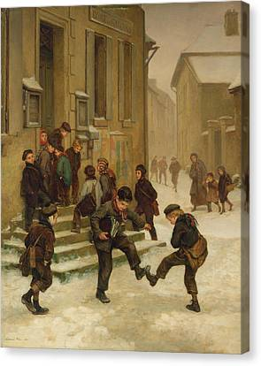 In Front Of The School Canvas Print by Charles Edouard Frere