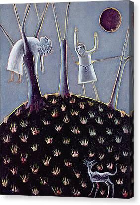 In Praise Of Expectation, 1991 Oil On Canvas Canvas Print by Celia Washington