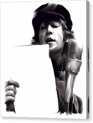 In Studio John Lennon Canvas Print by Iconic Images Art Gallery David Pucciarelli