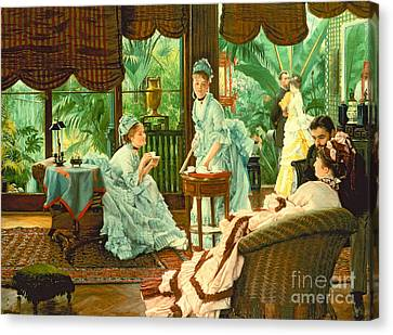 In The Conservatory  Canvas Print by James Jacques Tissot