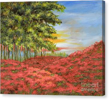 In The Field Of Poppies Canvas Print by Vic  Mastis