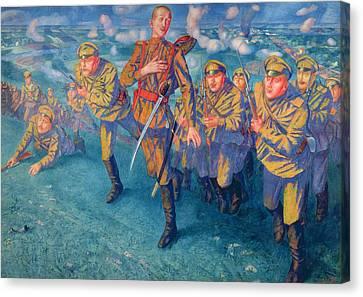 In The Firing Line Canvas Print by Kuzma Sergeevich Petrov-Vodkin