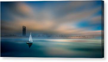 ...in The Fog Of The Bay Canvas Print by Marek Czaja