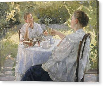 In The Garden Canvas Print by Lukjan Vasilievich Popov