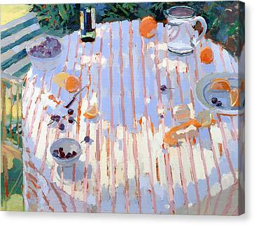 In The Garden Table With Oranges  Canvas Print by Sarah Butterfield