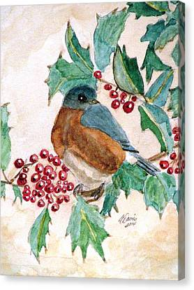 In The Holly Tree Canvas Print by Angela Davies