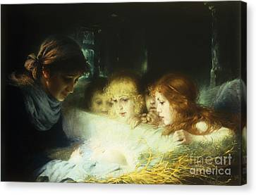 In The Manger Canvas Print by Hugo Havenith