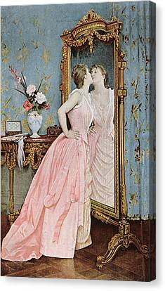 In The Mirror Canvas Print by Auguste Toulmouche